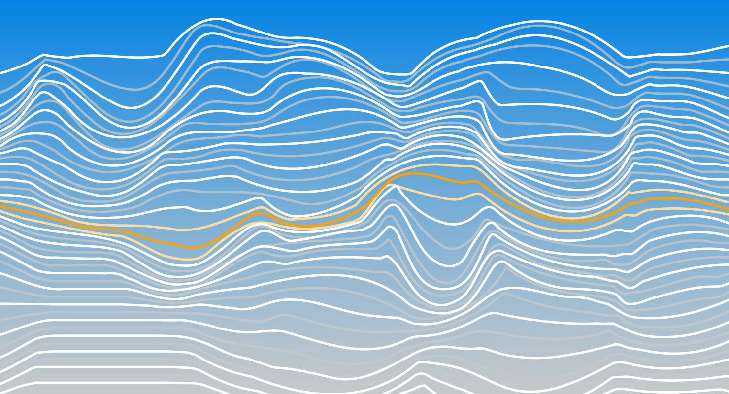 Fluctuating horizontal white and orange wavy lines on a blue gradient background.